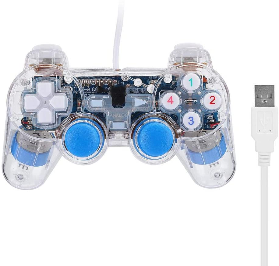 sjlerst Wired Game Controller, USB Interface Handheld Gamepad, for Computer for PS2 for Home Office