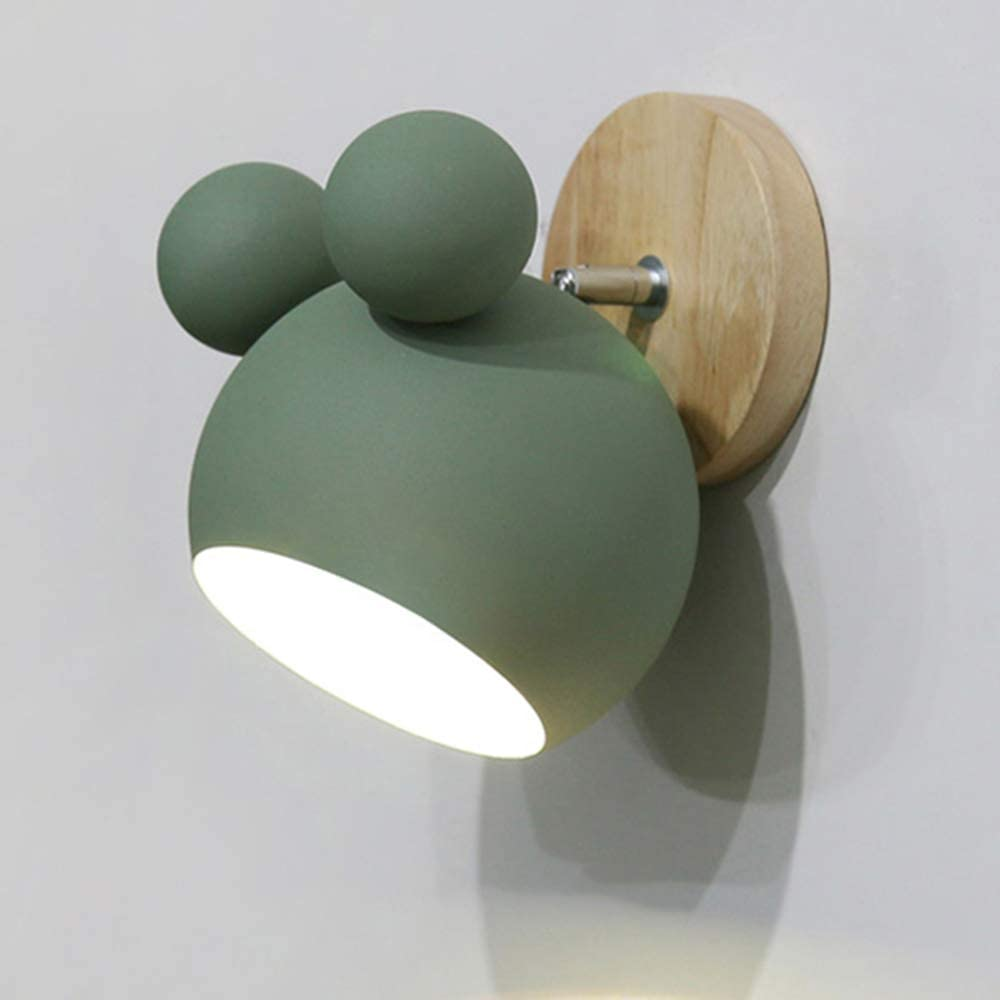 KWOKING Nordic Wall Sconce Lamp Macarons Wall Sconce Lighting with Frosted Paint Shade Adjustable Cartoon Design Bedside Lamp for Kids Room, Kitchen,Bedroom in Green A