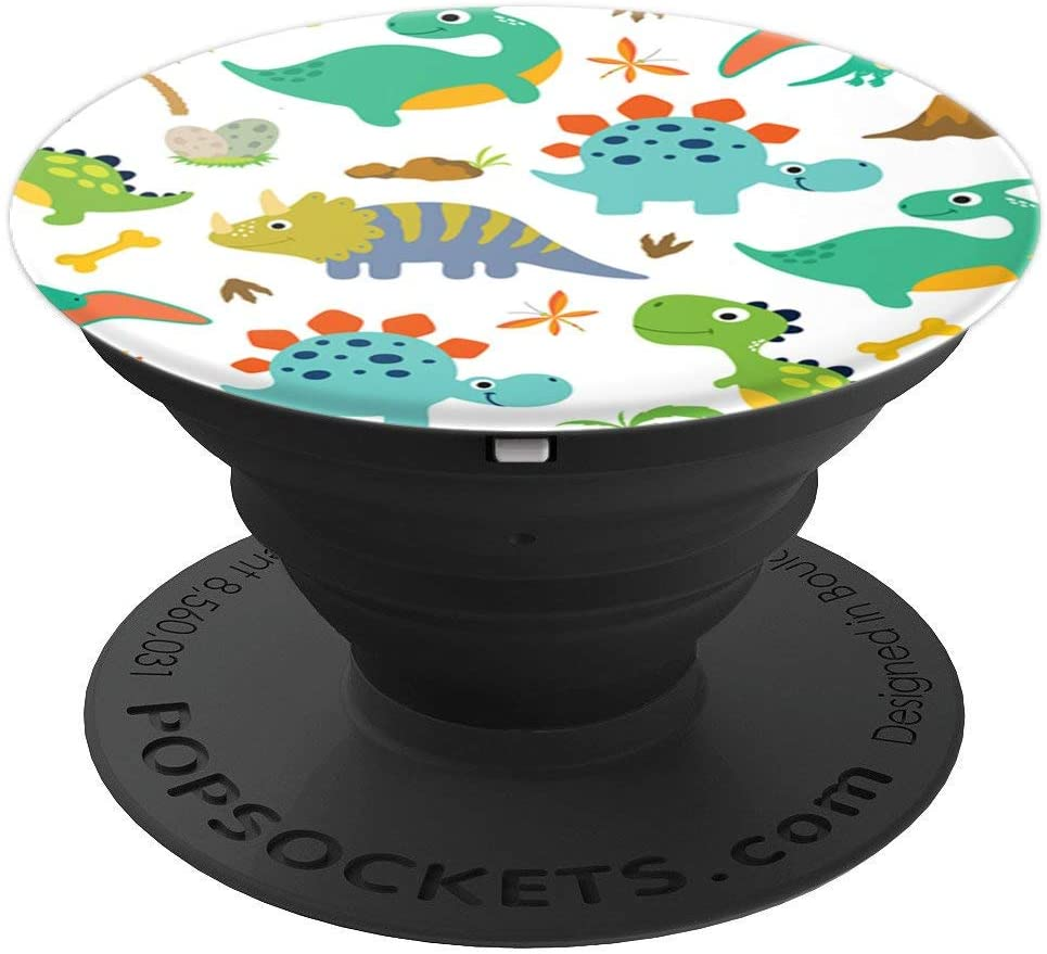 Cool Dinosaurs Pattern Design Dino and Rhino Gifts For Kids PopSockets Grip and Stand for Phones and Tablets