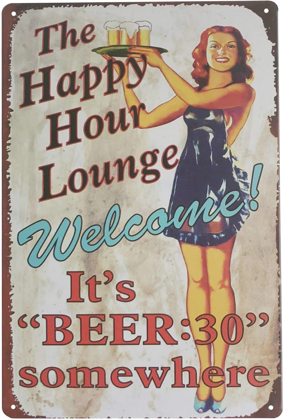 Hilarytt 8X12Inch Pinup Girl The Happy Hours Lounge Welcome! It's Beer Vintage Metal Tin Signs for Home Kitchen Wall Art Pub Bar Decor