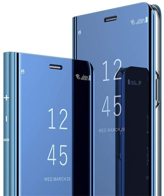LEMAXELERS Huawei P40 Pro Case Slim Mirror Design Clear View Flip Bookstyle Ultra Slim Protecter Shell with Kickstand Protective Cover for Huawei P40 Pro Mirror PU PU Blue