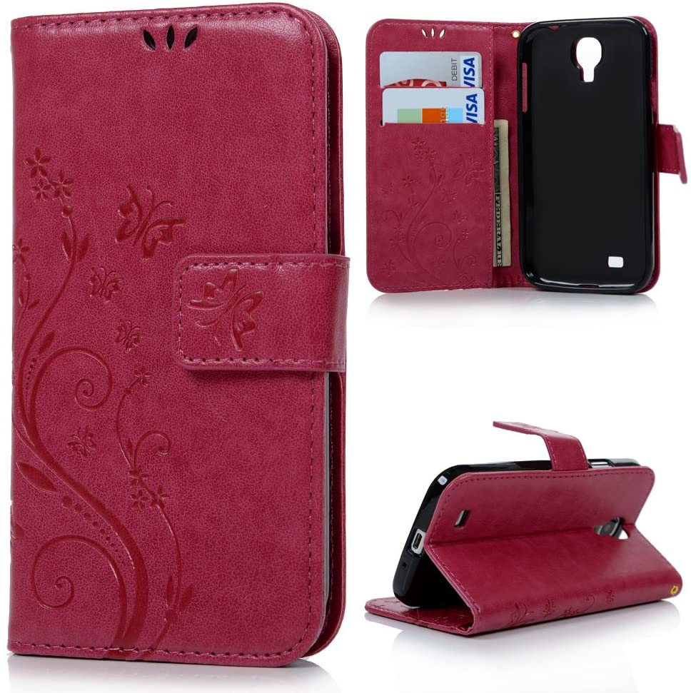 S4 Case,Galaxy S4 Wallet Case - Mavis's Diary Premium PU Leather with Fashion Floral Butterfly Pattern Magnetic Clasp Card Holders Flip Cover for Samsung Galaxy S4 9500 with Hand Strap (Hot Pink)