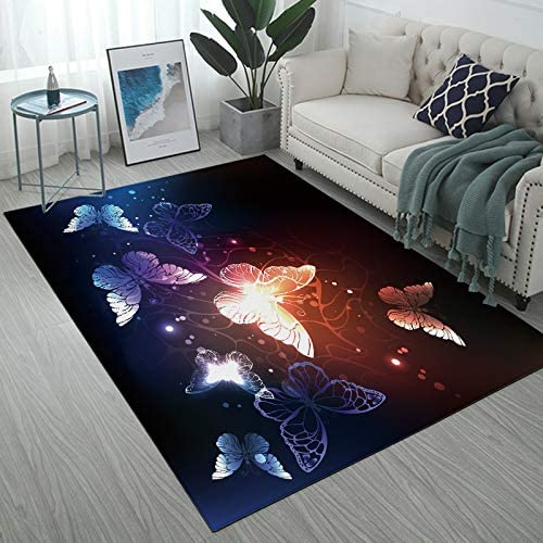 Yunine Abstract Area Rug Luminous Butterfly at Night Large Floor Mat Home Decorative for Kids Living Room Dining Dorm Room 5' x 7'