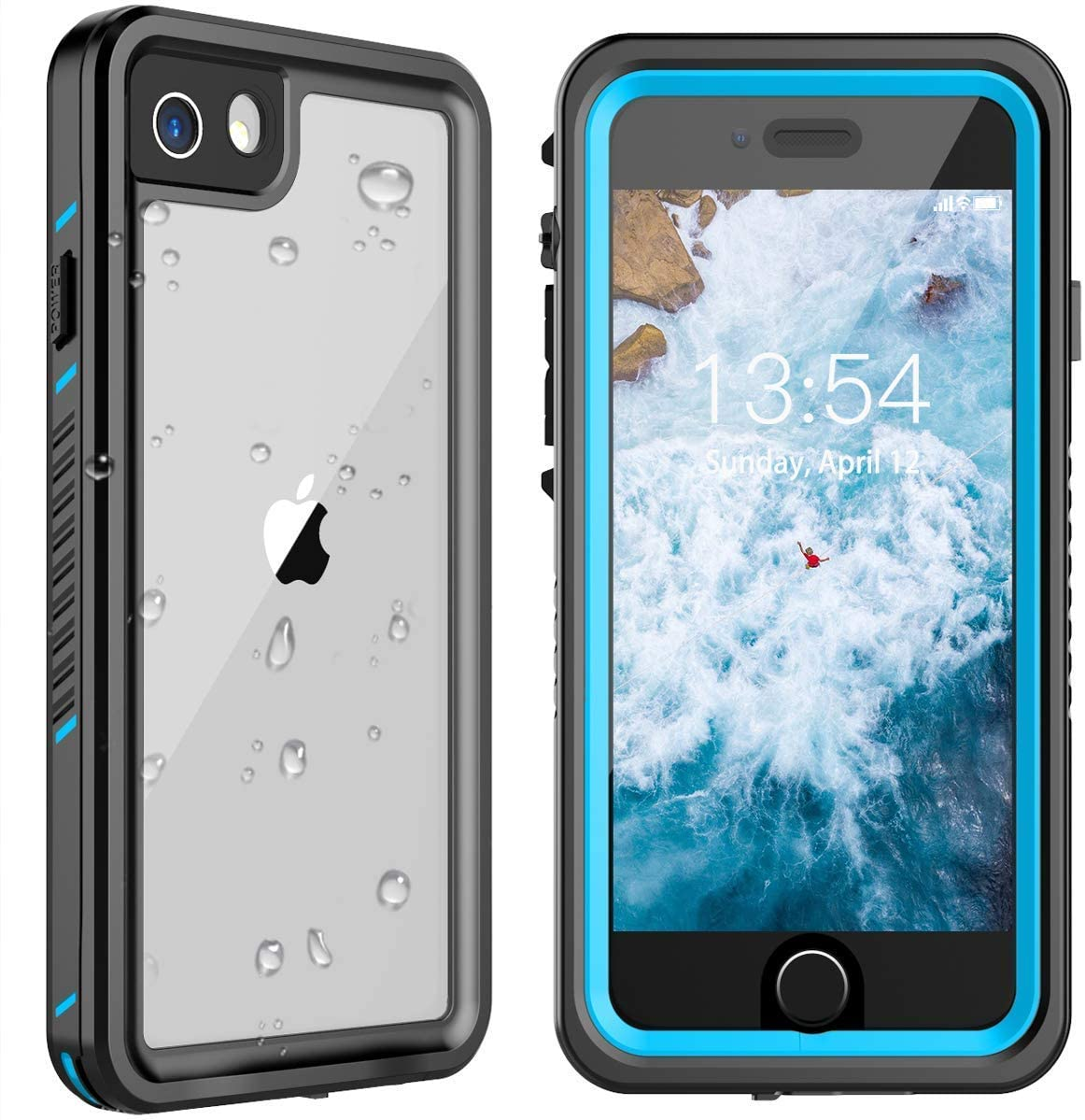 ANTSHARE iPhone SE 2020 Waterproof Case iPhone 7/8 Waterproof Case,iPhone SE 2020 Case Built in Screen Protector Full Body Protective IP68 Underwater Waterproof Case for iPhone 7/8/SE 2020(Blue/Clear)