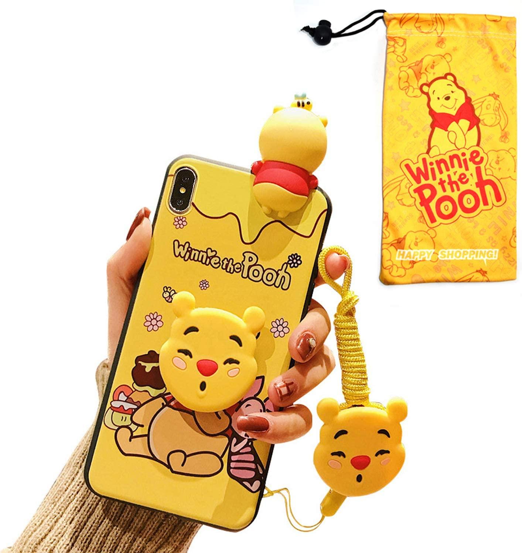 VANVENE Cute Cartoon iPhone XR Winnie Pooh Case for Kids Girls Women, Fun 3D Kawaii Animal Character Cover Case for Apple iPhone XR 6.1