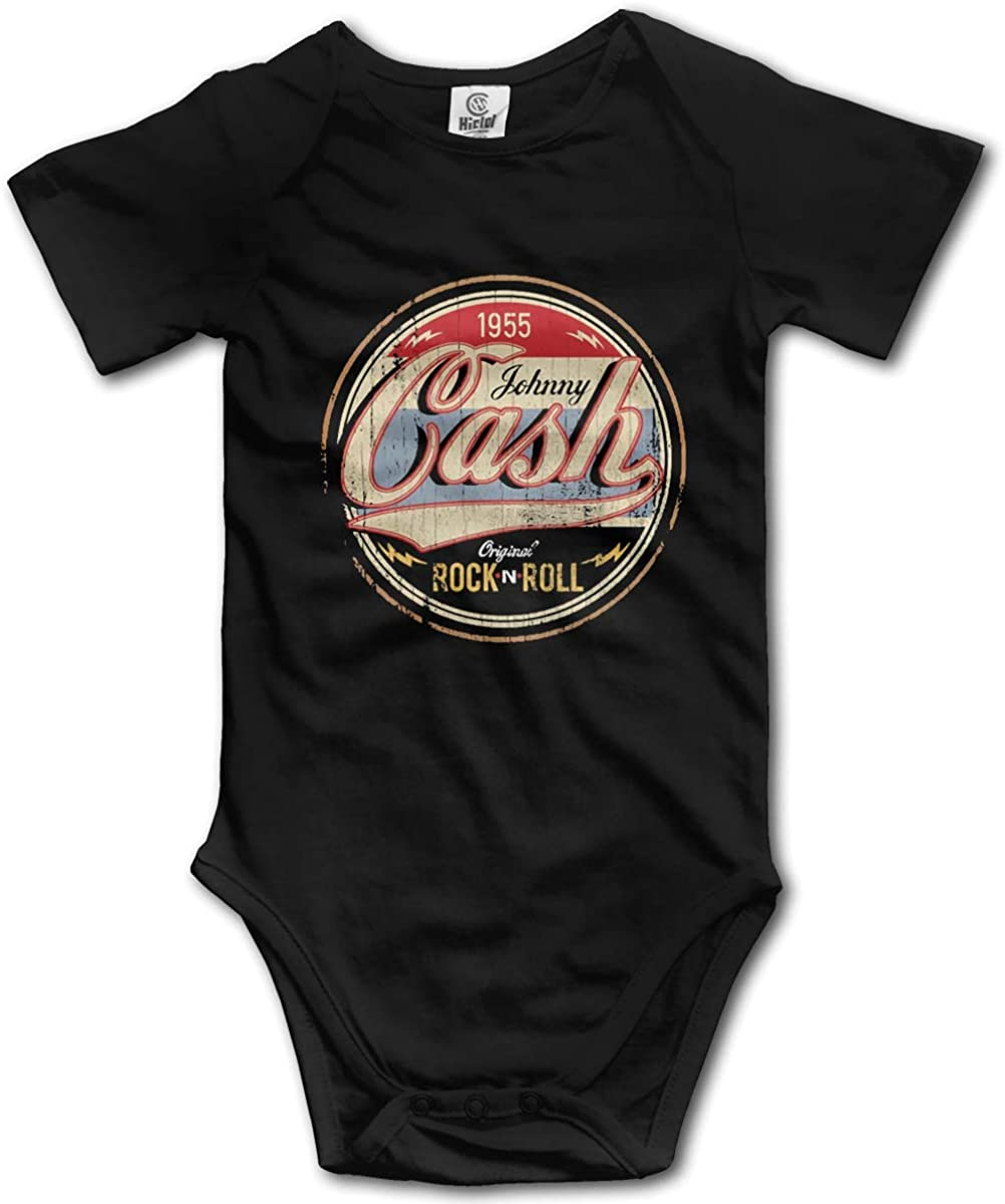 Johnny Cash Rock and Roll Breathable Black Round Neck Short Sleeve Baby Creeping Suit