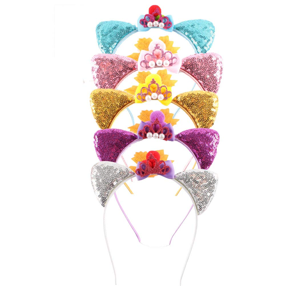 Lurrose 5pcs Sequins Car Ear Headwear Crown Headband Cute Cat Ear Hairband Birthday Hairhoop for Children Kids