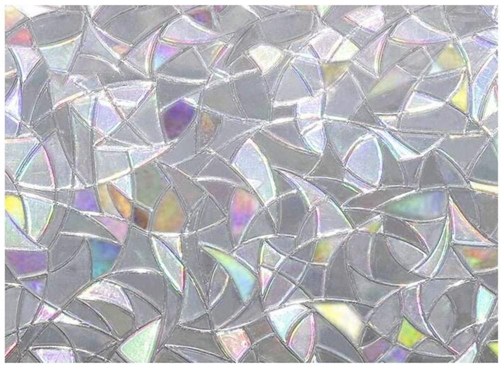 Wasvidra Window Privacy Film, Rainbow Window Decals, 3D Static Decoration Window Vinyl, Window Sticker for UV Blocking Rainbow Reflective 3D Window Film Decor Privacy Static Clings Glass Sticker