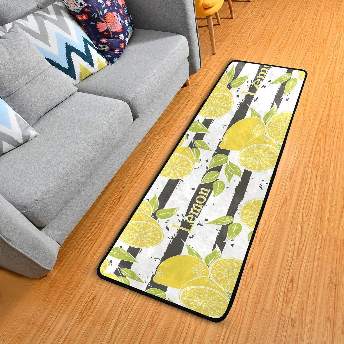 Hallway Runner Rug Rubber Backing - Fruits Lemon Pattern Runner Rug for Kitchen Rug Carpet Runner Non Skid Washable Rug Runner 2x6