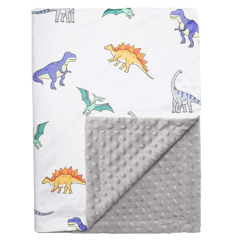 Pro Goleem Baby Blanket Dinosaur Print with Soft Minky Dot Backing Fleece Newborn Blanket Plush 30 x 40 Inch Receiving Blanket for Nursery Crib Stroller Boys Gift for Infant and Toddler