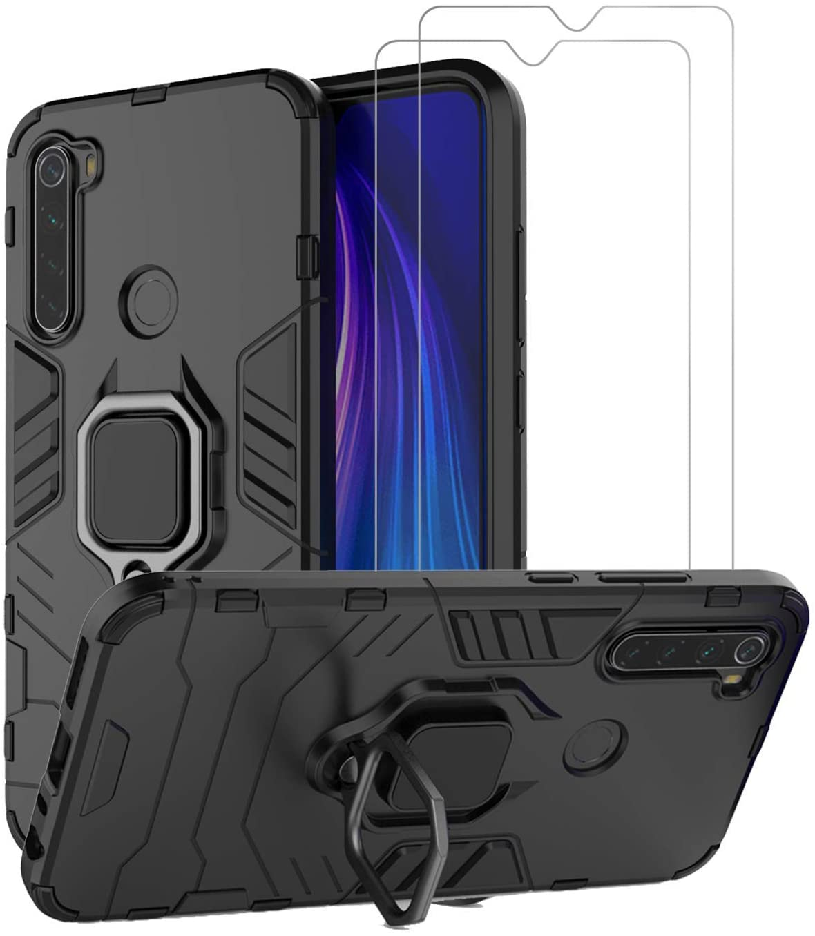 Urspasol for Xiaomi Redmi Note 8 Case with Screen Protector Tempered Glass Hybrid Heavy Duty Armor Protective Bumper Cover with 360° Degree Ring Holder Kickstand (Black)