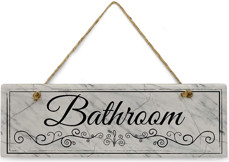 Cedar Crate Market Marble Bathroom Sign 11 3/4