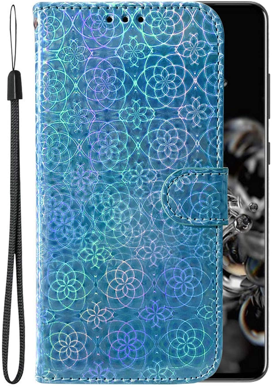 S20 Ultra Case Compatible with Samsung Galaxy S20ultra Cases PU Leather Wallet Card Holder Cover Glaxay S 20Ultra Bling Magnetic Kickstand Wrist Strap Protective Bumper 6.9 inch (Blue)