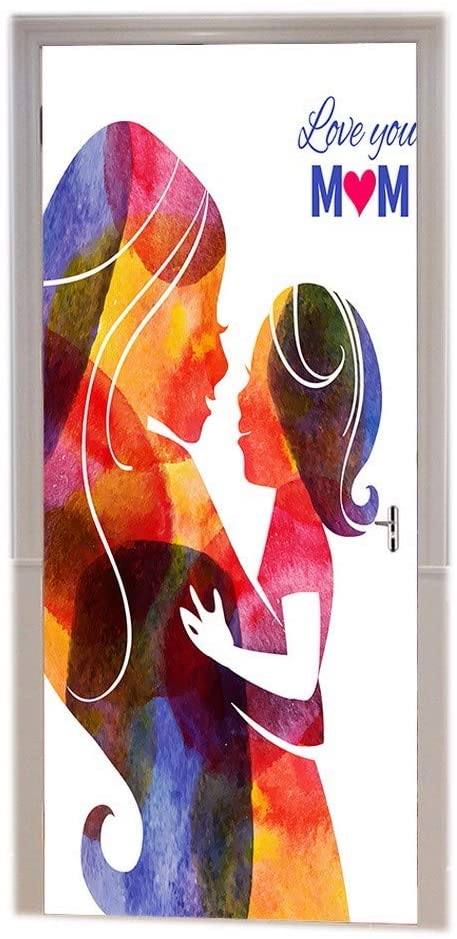 A.Monamour Watercolor Silhouette of Mother with Her Baby Happy Mothers Day Woman Child Art Décor Print Vinyl Room Door Decals Wallpaper Wall Murals Removable Door Stickers Posters Art Decors
