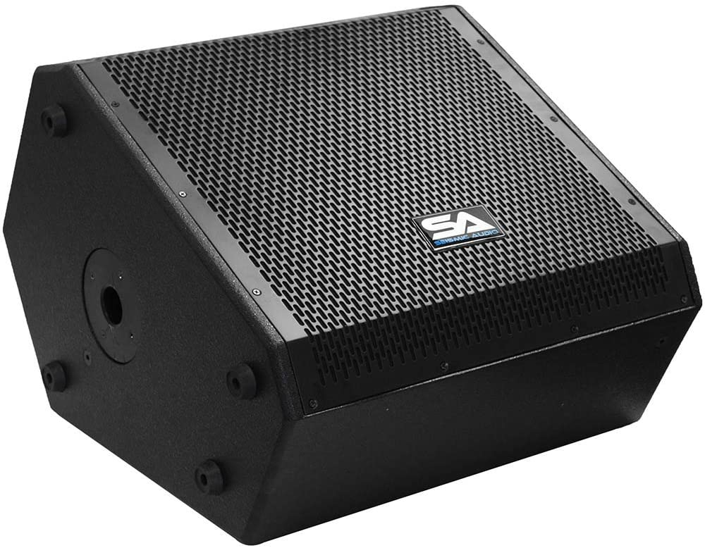 Seismic Audio SAX-15M-PW 300W RMS Powered Compact 15-Inch 2 Way Coaxial Floor/Stage Monitor with Titanium Horn