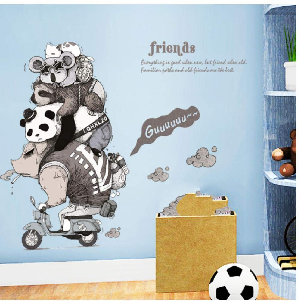 Wall Stickers Individuality Animals Friends Nursery Bedroom Living Room Bathroom Removable Wall Stickers Waterproof DIY Art Decals Home Decor 9060cm