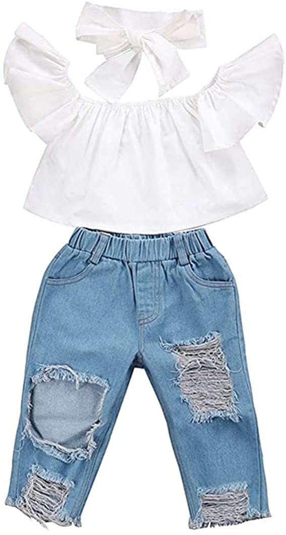 XiangYue Toddler Kids Outfits Ruffle Off Shoulder Tops + Hole Denim Pant Jean + Headband Clothes