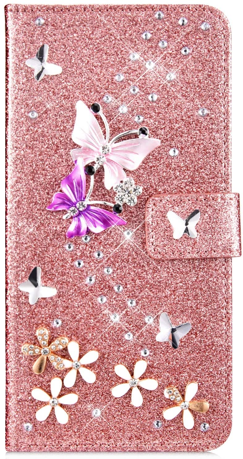 IKASEFU Compatible with iPhone 7 Plus/8 Plus Case Glitter Shiny butterfly Rhinestone Floral Pu Leather Diamond Flash Bling Wallet Strap Case with Card Holder Magnetic Kickstand Flip Cover,Rose gold