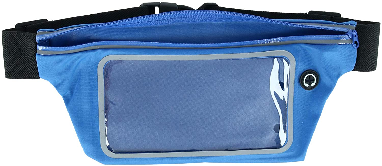 CTM Workout Sport Fanny Waist Pack with Touchscreen Window, Royal Blue