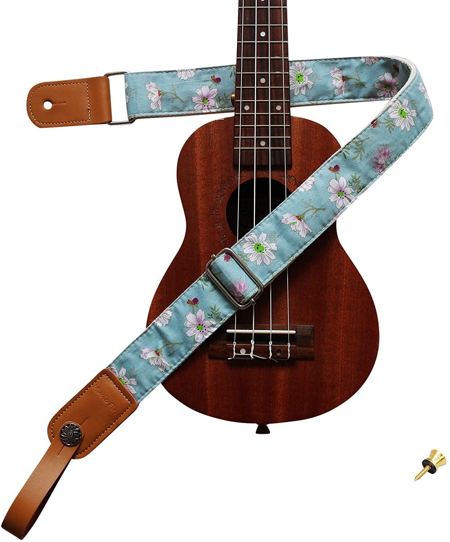 "MUSIC FIRST Original Design Vintage Blue ""Daisy"" Soft Cotton & Genuine Leather Ukulele Strap Ukulele Shoulder Strap With a MUSIC FIRST Genuine Leather Strap Locker"