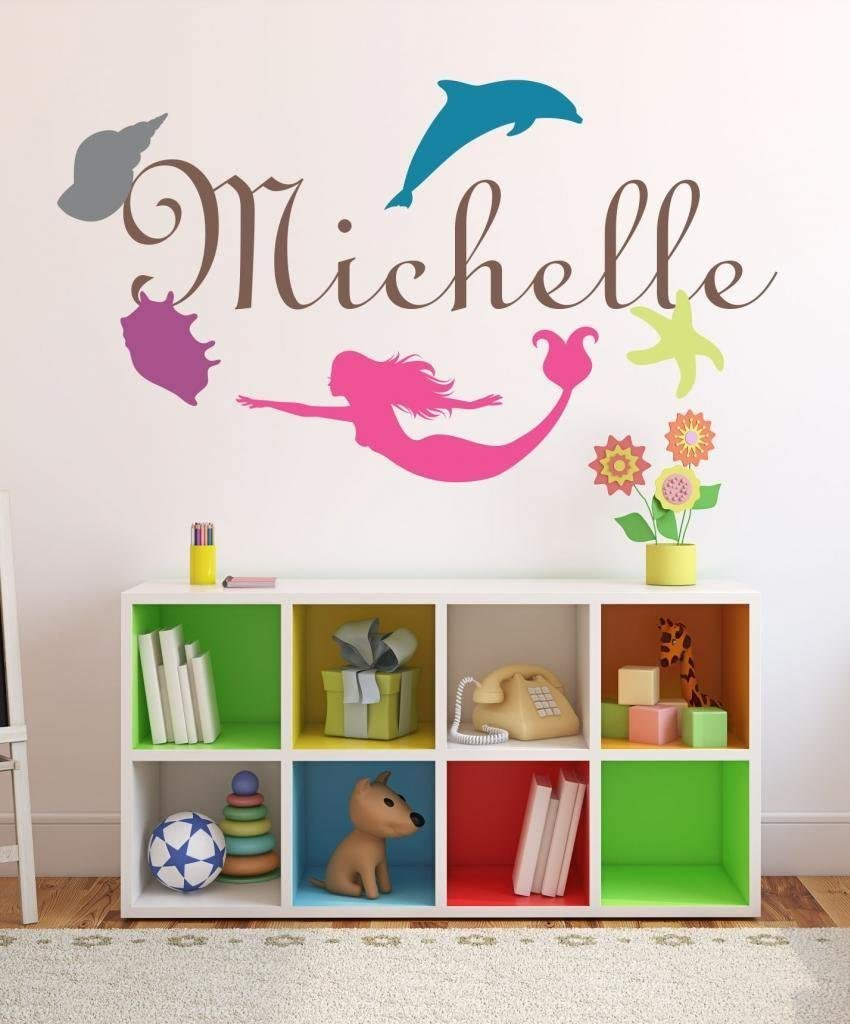 Nursery Mermaid Custom Name Wall Decal Sticker, 40