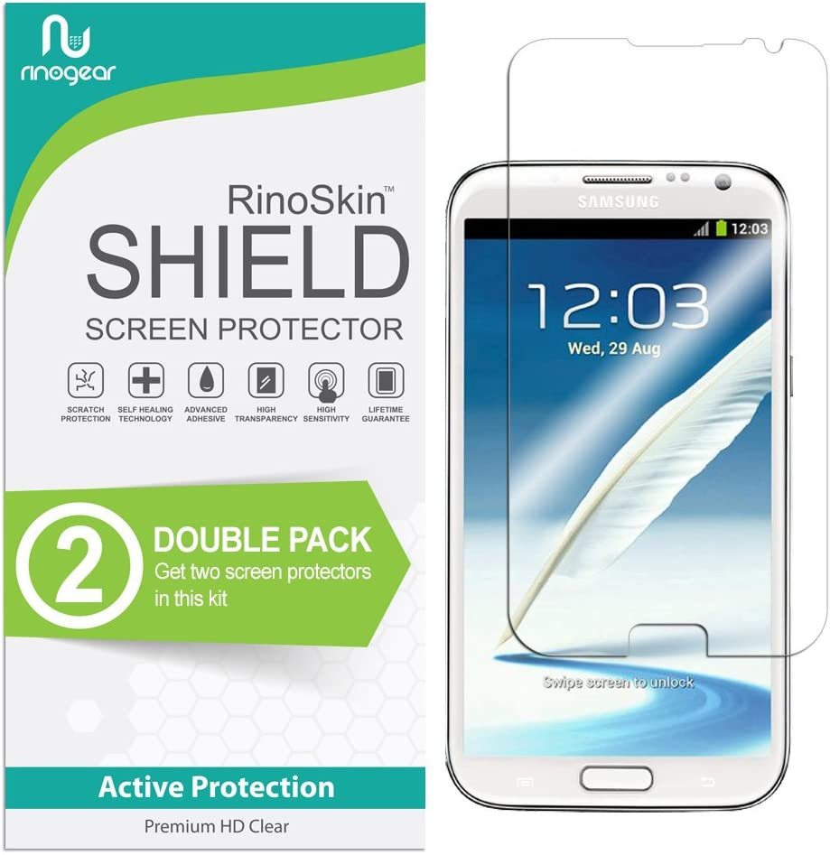 (2-Pack) RinoGear Screen Protector for Samsung Galaxy Note 2 Case Friendly Samsung Galaxy Note 2 Screen Protector Accessory Full Coverage Clear Film
