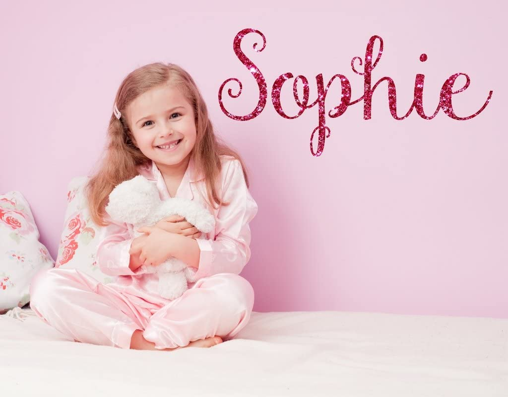 Fancy Hot Pink Sparkle Printed Personalized Custom Name Vinyl Wall Art Decal Sticker 45