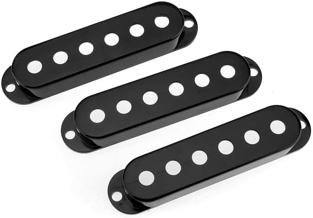 Musiclily Pro Plastic Guitar Single Coil Pickup Covers for USA/Mexico Strat Fender Stratocaster Electric Guitar, Black (Set of 3)