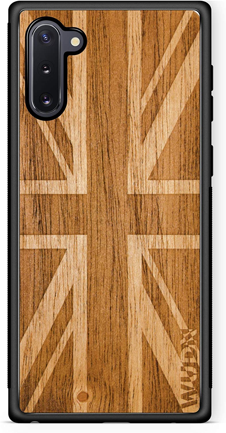 Wooden Phone Case (UK Flag in Mahogany) Compatible with Galaxy Note 10, Samsung Galaxy Note 10