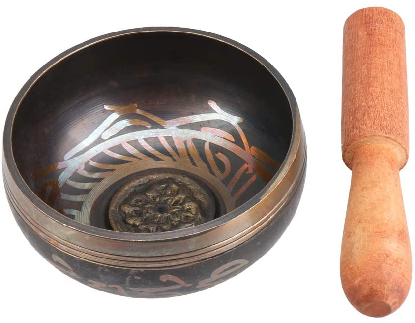 lovermusic Metal Wood Tibetan Bronze Chime Singing Bowl with Wooden Stick Golden (9.5cm)