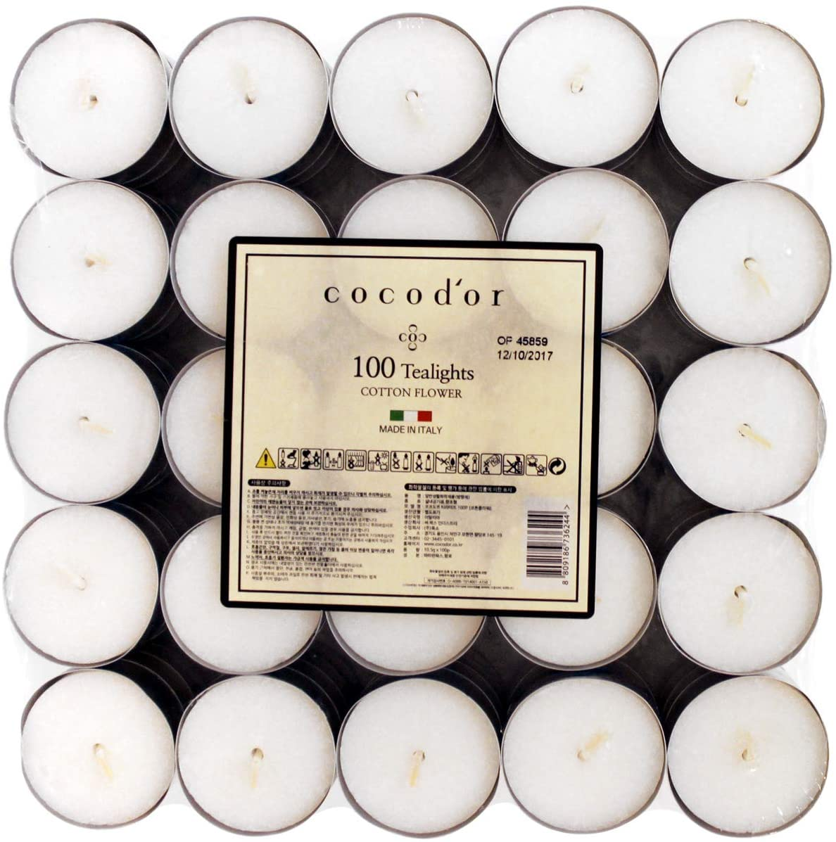 Cocodor Scented Tealight Candles/Cotton Flower / 100 Pack / 4-5 Hour Burn Time/Made in Italy