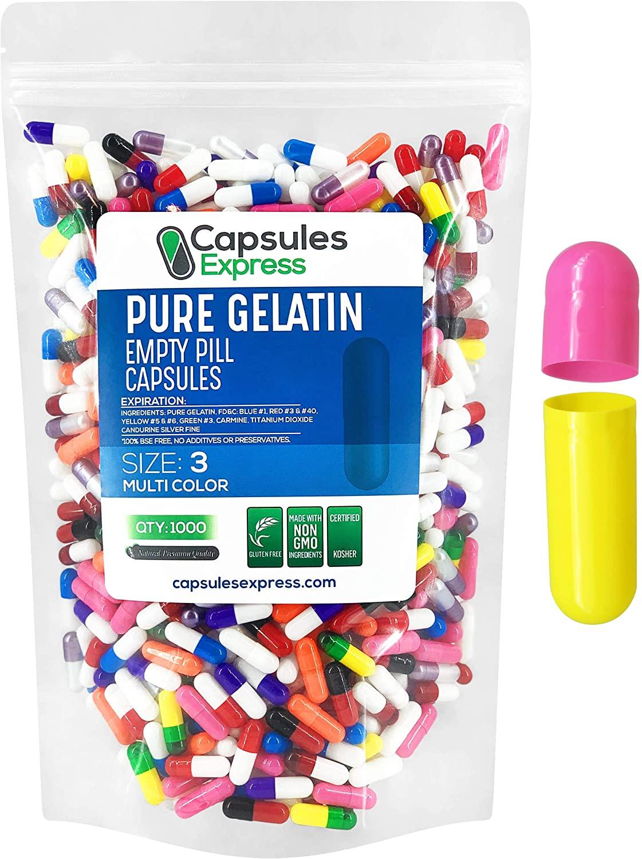 Capsules Express- Size 3 Multi-Colored Empty Gelatin Capsules- Kosher - Pure Gelatin Pill Capsule - DIY Powder Filling (1000)