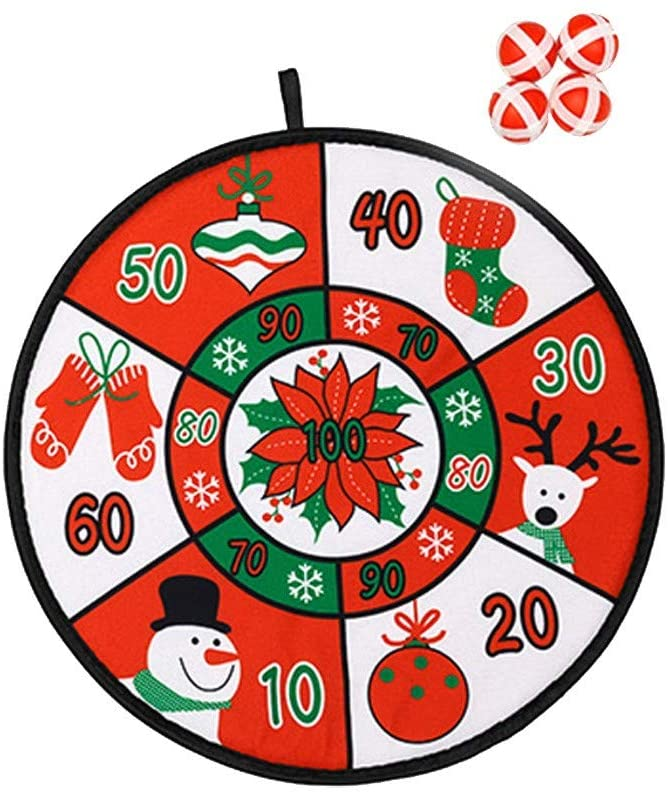 LLLCCC Christmas Ornaments Toy Ball Stickers Fabric Dart Board Game Set for Kids and Adult Fashion Pattern Family Fun Indoor Outdoor Classic Games (A)