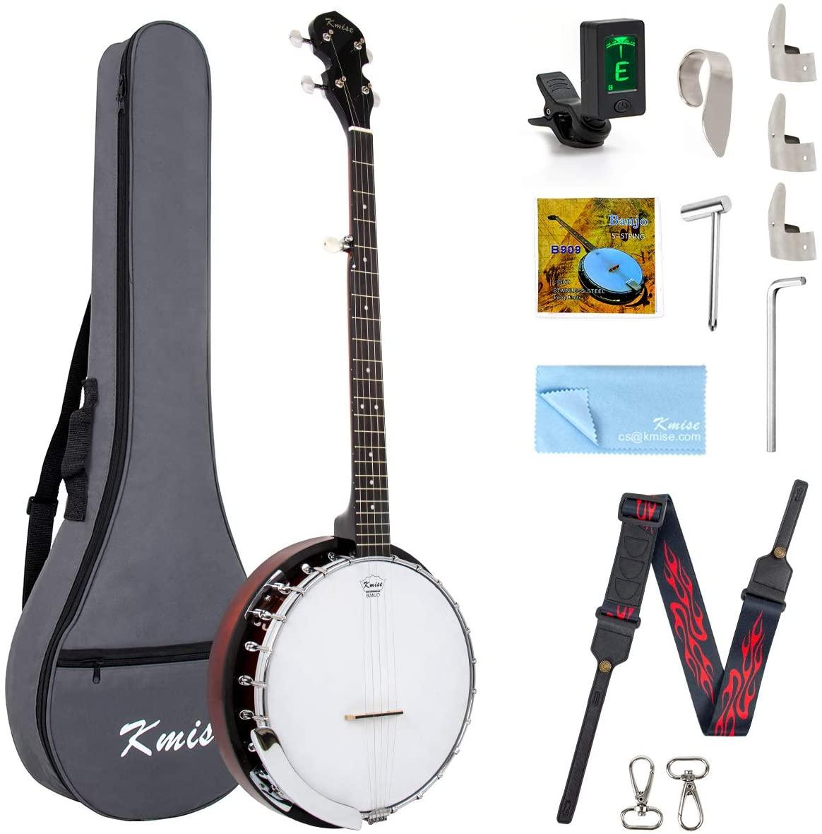 Kmise 5 String Banjo Remo Head Closed Sapele Back With Bag Tuner Strap Strings Pickup Picks Ruler Wrench Bridge