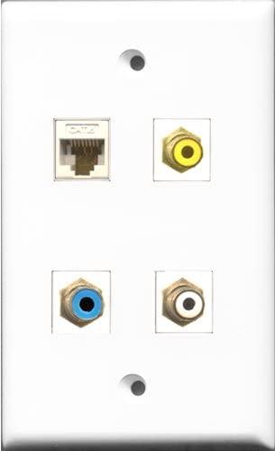 RiteAV 1 Port RCA White and 1 Port RCA Yellow and 1 Port RCA Blue and 1 Port Cat6 Ethernet White Wall Plate