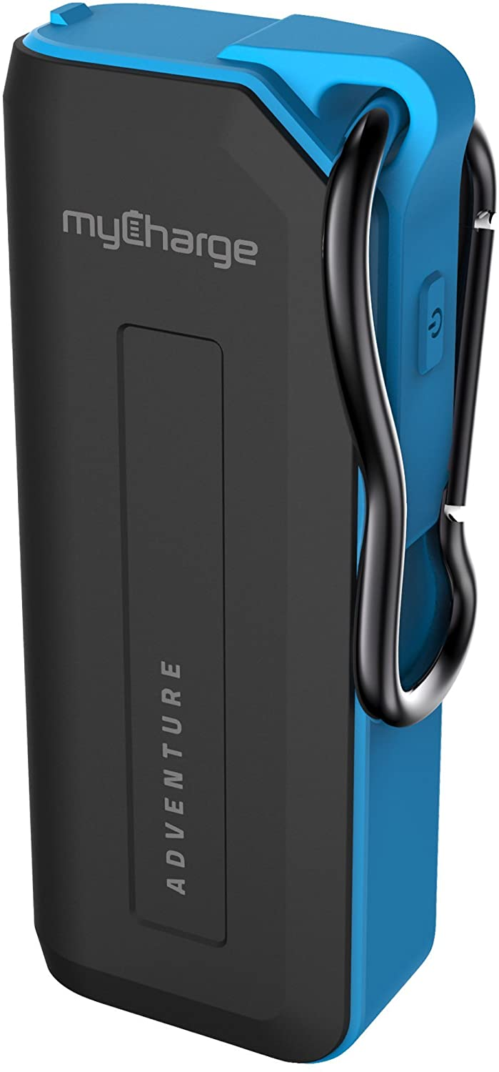 myCharge Adventure Camping Portable Charger Power Bank 3350 mAh Rugged Outdoor External Battery Pack with Carabiner Clip - USB Accessories, Bluetooth Speaker, Cell Phone (iPhone, Android for Samsung)