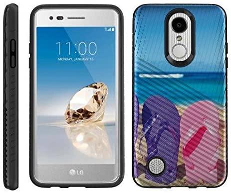 TurtleArmor | Compatible with LG Aristo Case | LG LV3 Case | LG K8 (2017) Case | Hard Shell Impact TPU Case Hybrid Engraved Grooves Ocean Beach - Sandal Flipflops