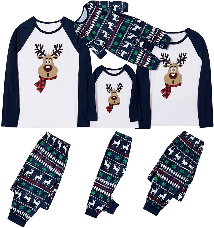 Family Matching Christmas Pajamas Set Xmas Deer Holiday Pajamas Sleepwear Dad Mom Kids Toddles
