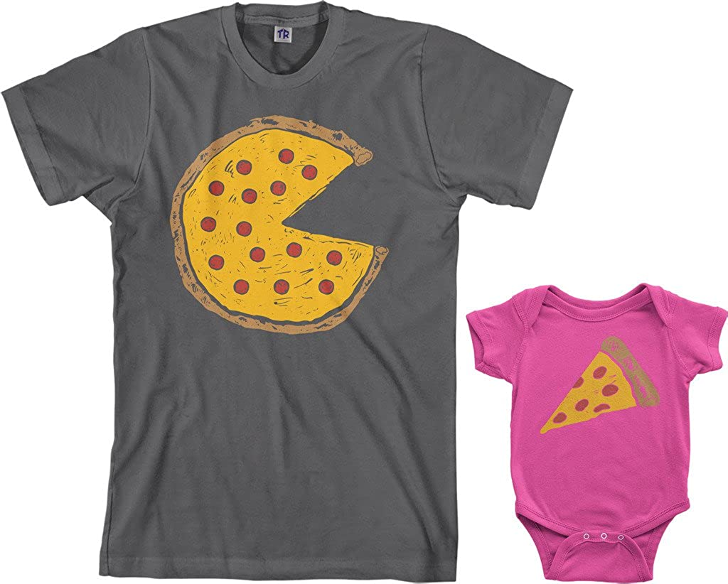 Threadrock Pizza Pie & Slice Infant Bodysuit & Men's T-Shirt Matching Set (Baby: 12M, Hot Pink|Men's: L, Charcoal)