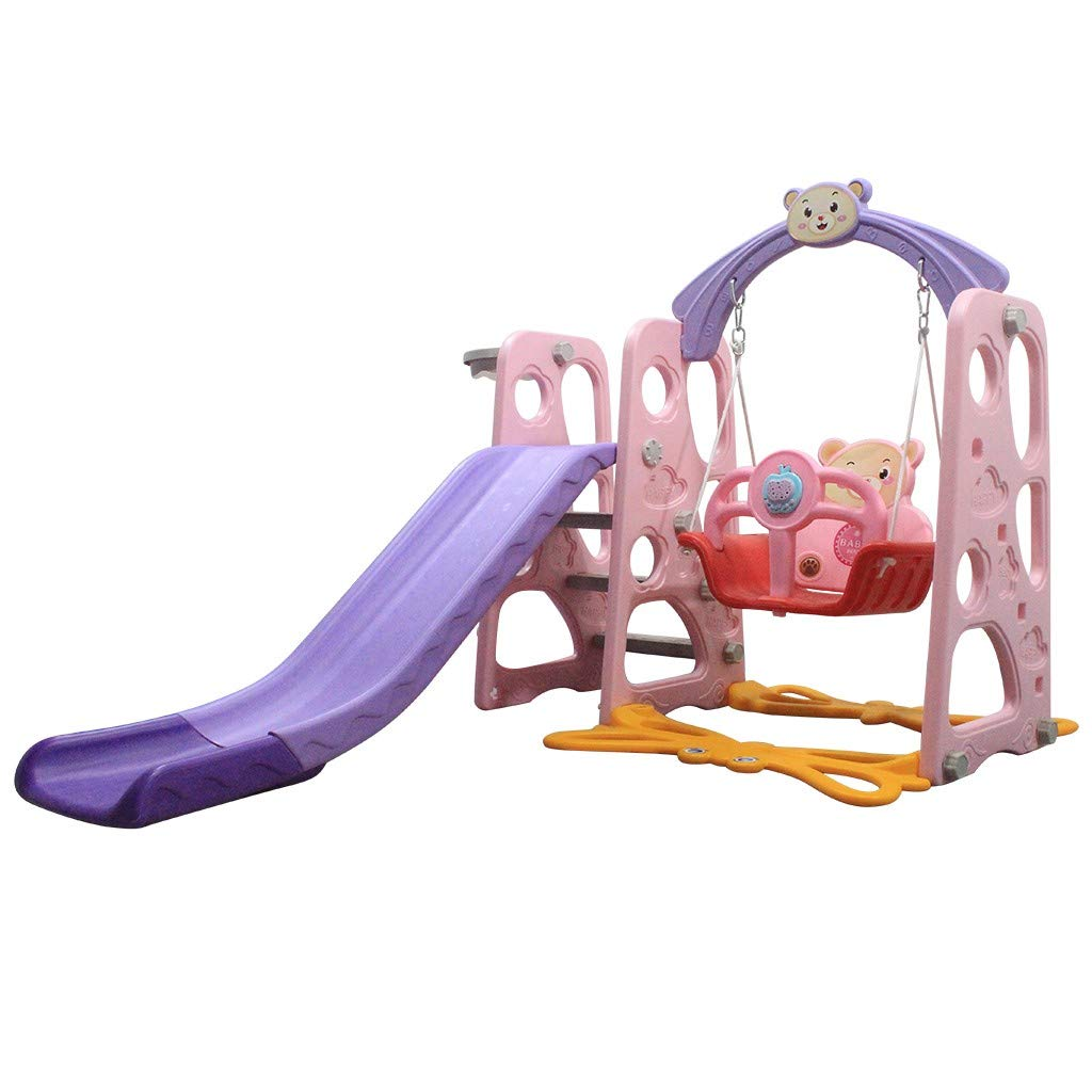 Kids Climber and Swing Set, Sturdy Toddler Playground Slipping Slide Climber for Indoor Outdoors, Children Toy Playset w/Basketball Hoop for Outside Games, Playground Equipment Set (Purple w/Music)