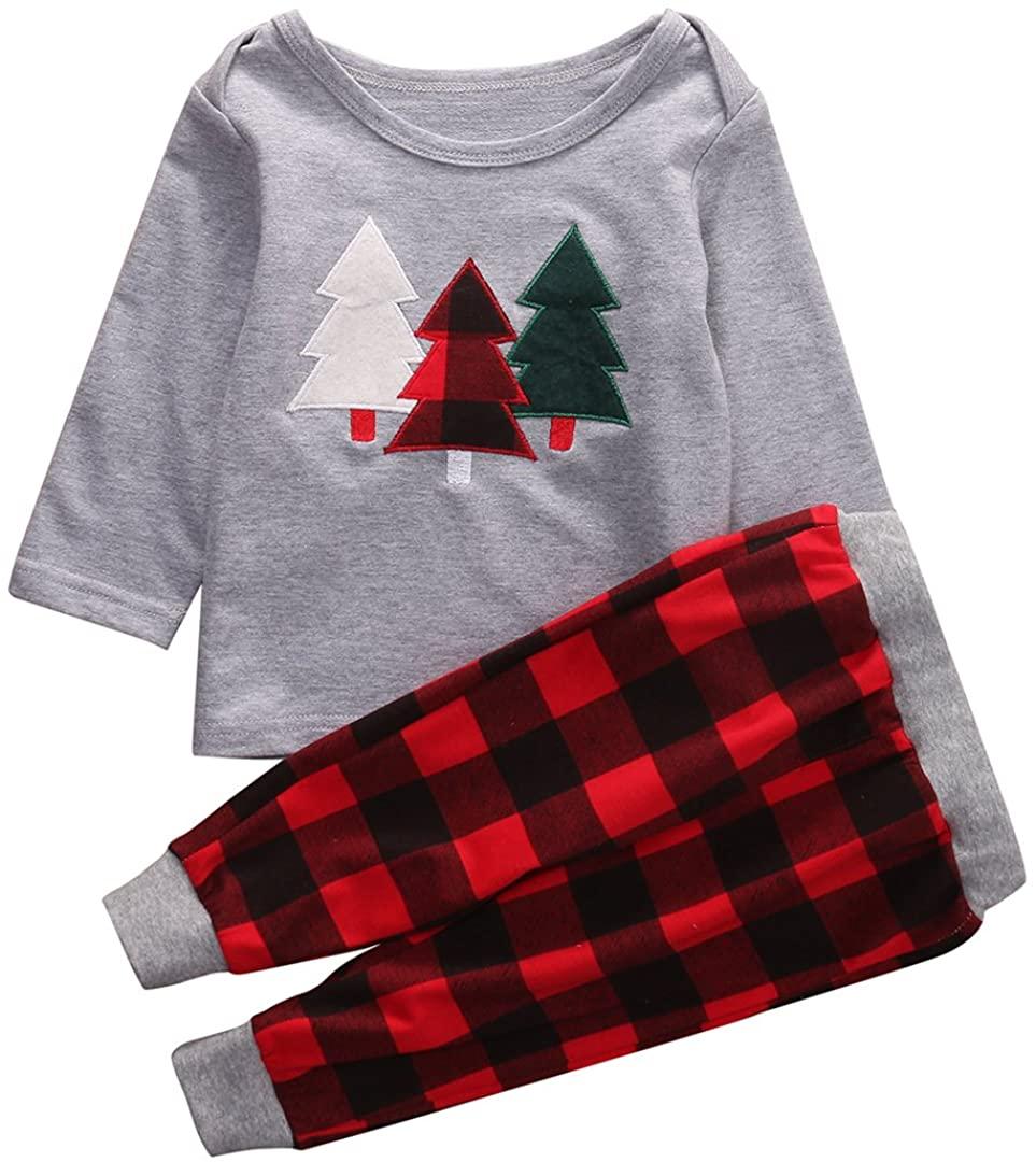 2Pcs Toddler Infant Baby Boy Girl Christmas Outfit Pajamas Shirt Tops+Long Pants Set (Grey+Red, 3-4 Years)