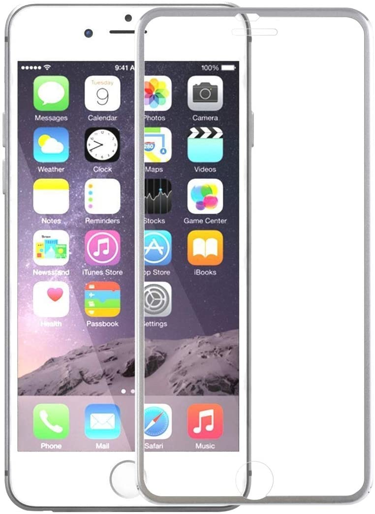 UKCOCO 3D Full Screen Protector Curved Edge Coated Tempered Glass Film for iPhone 6 6s (Silver)