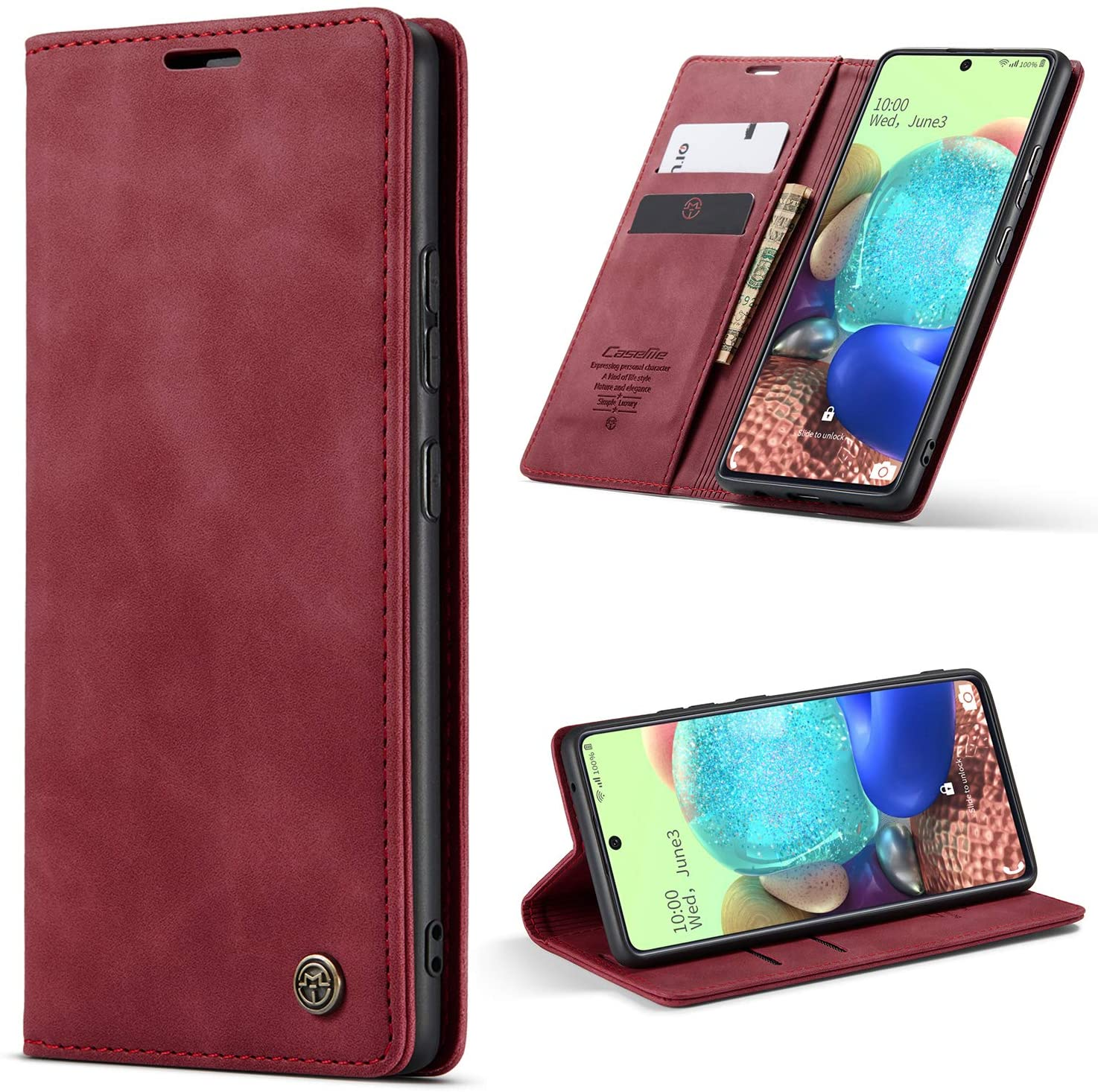 HAII iPhone SE 2020 Case, Flip Fold Leather Wallet Case with Credit Card Slot and Kickstand Magnetic Closure Protective Cover for Apple iPhone SE 2020 (Red)