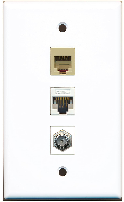 RiteAV - 1 Port Coax Cable TV- F-Type 1 Phone RJ11 RJ12 Beige 1 Cat5e Ethernet White Wall Plate