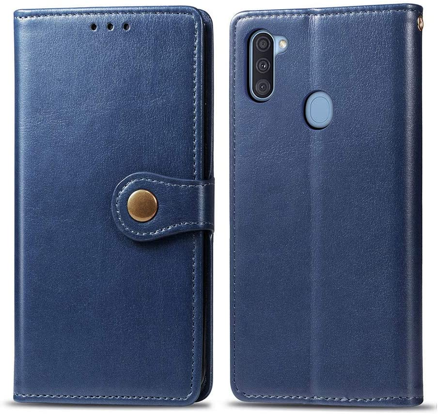 EMAXELER Samsung Galaxy A11 Case Premium PU Leather Stylish Shockproof Magnetic Flip Cover with Credit Cards Holder Bookstyle Business Wallet Phone Case for Samsung Galaxy A11 Retro Blue SD