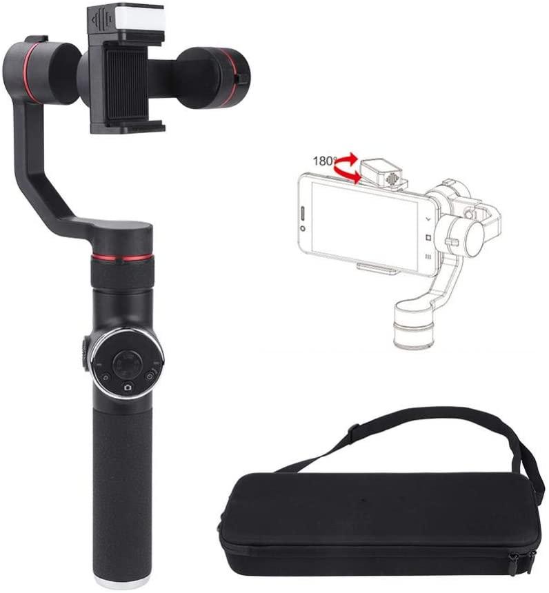 Phone Video Stabilizer, Lightweight Handheld Gimbal with Flash Stabilizer Holder for Smartphones Action Cameras Black