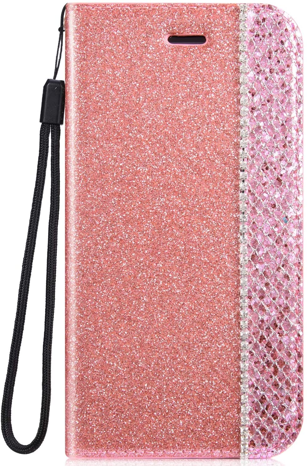 IKASEFU Shiny Rhinestone Diamond Sparkle Bling Glitter Luxury Wallet with Card Holder Flash chip Pu Leather Magnetic Flip Case Protective Cover Case Compatible with iPhone 7 Plus/8 Plus,Pink