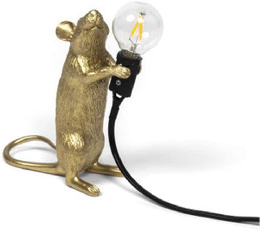 Resin Mouse Table Light,Small Mini Mouse Cute LED Night Lights,Creative Desk Lamps Bedside Gift Decoration Bedroom,Study Room (Golden Station)