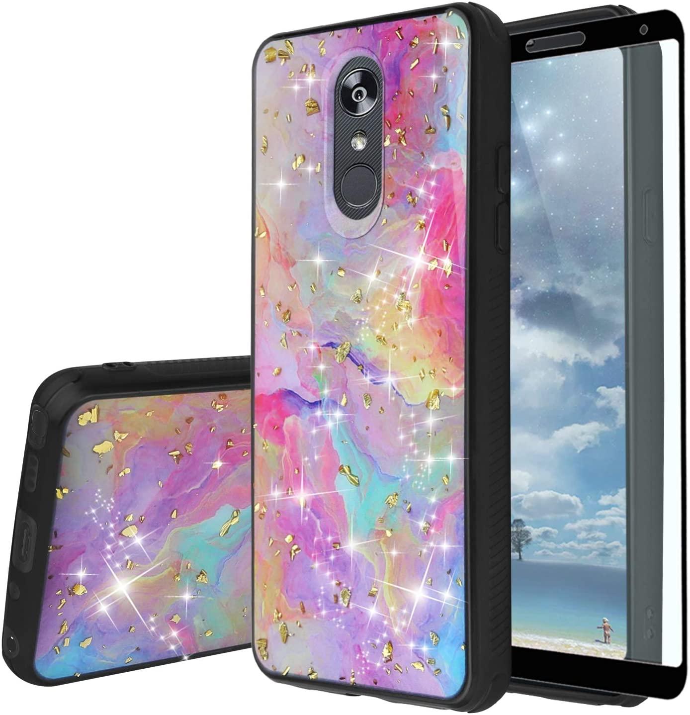 TJS Phone Case Compatible with LG Aristo 4,Aristo 4 Plus +,Escape Plus,K30 2019,Arena 2,Tribute Royal,Journey LTE [Full Coverage Tempered Glass Screen Protector] Chrome Flake Glitter Skin (Rainbow)