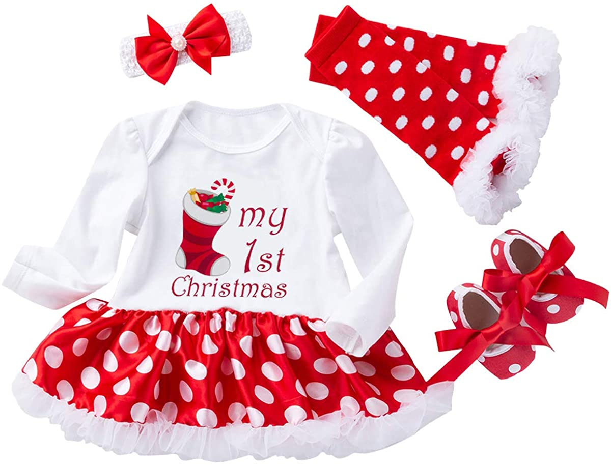 Christmas Outfits Baby Girls - 4PCS First Xmas Onesie Romper Tutu Dress Headband Sets Gifts